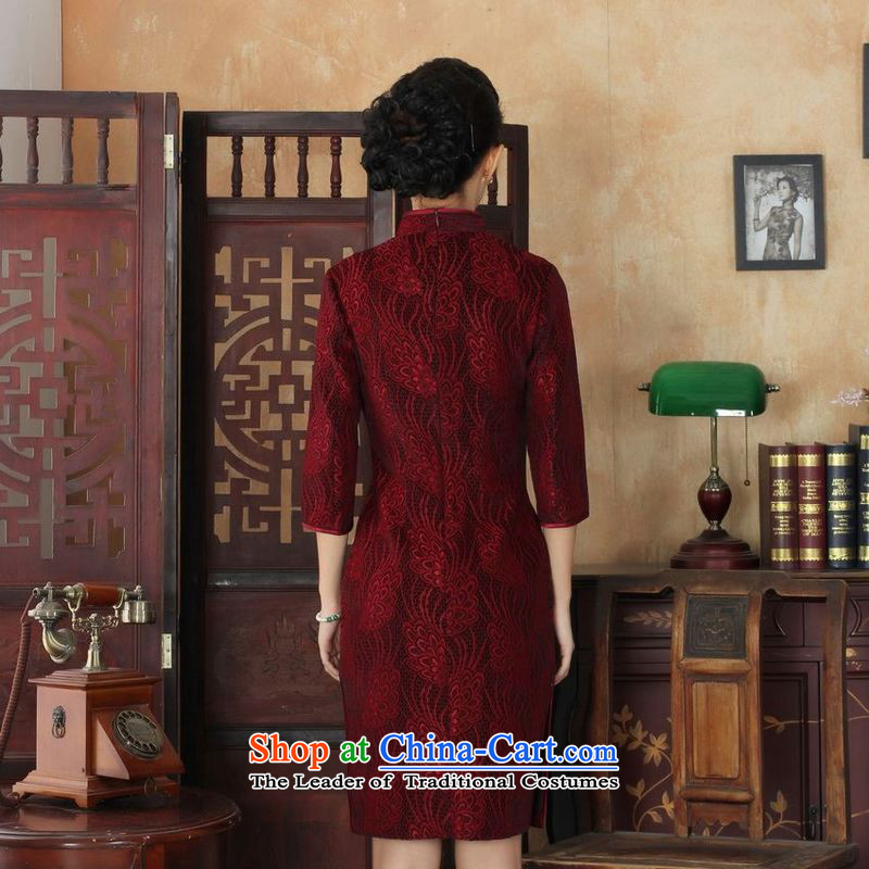 158 Jing Chinese improved cheongsam dress long skirt Superior elasticity lace cheongsam dress Kim scouring pads Sau San 7 Cuff聽TD0024 map color聽, L 158 jing shopping on the Internet has been pressed.