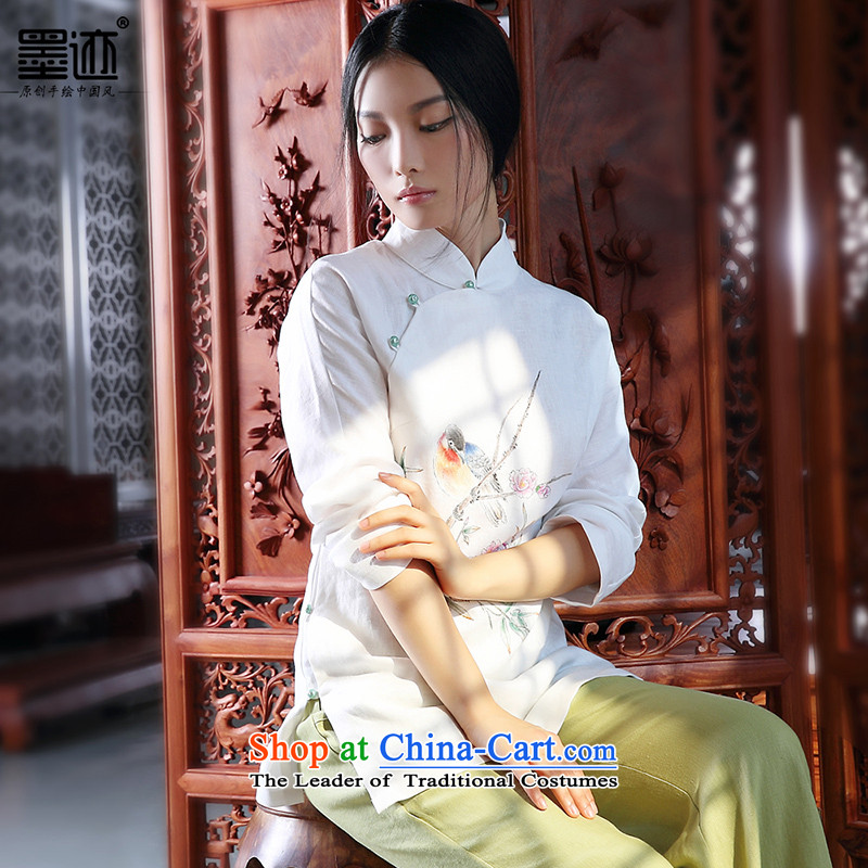 The 2014 autumn and winter new ink hand-painted cotton linen Tang Dynasty Chinese Han-girl shirt national wind jacket white XXL- retro pre-sale 3 day shipping