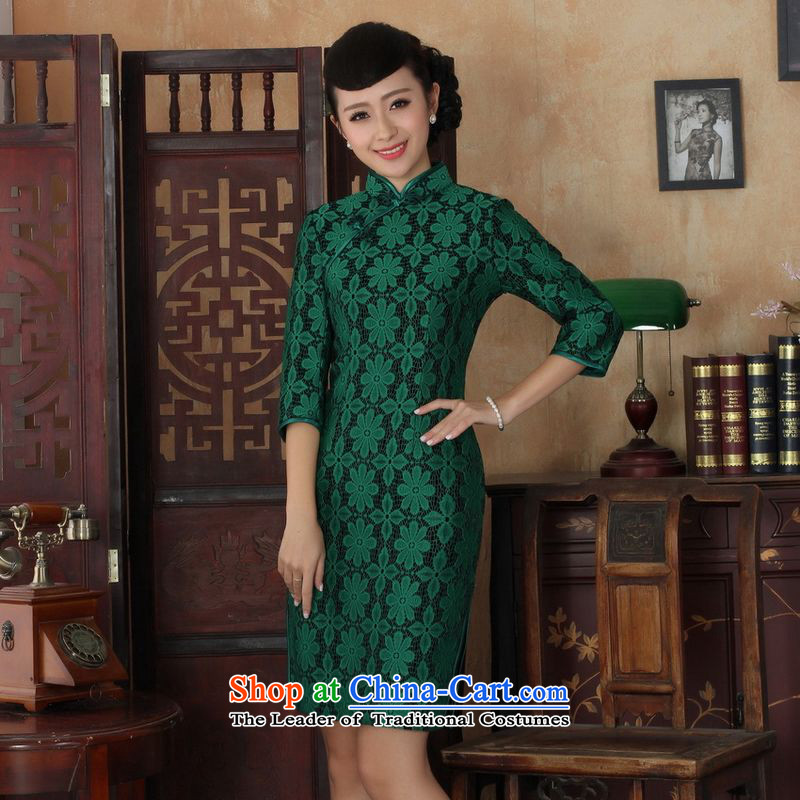 158 Jing Chinese improved cheongsam dress long skirt Superior elasticity lace cheongsam dress Kim scouring pads Sau San 7 Cuff�TD0020 map color�2XL