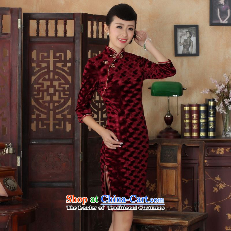 158 Jing Chinese improved cheongsam dress long skirt superior Stretch Wool cheongsam dress Kim Sau San 7 Cuff wine red燬