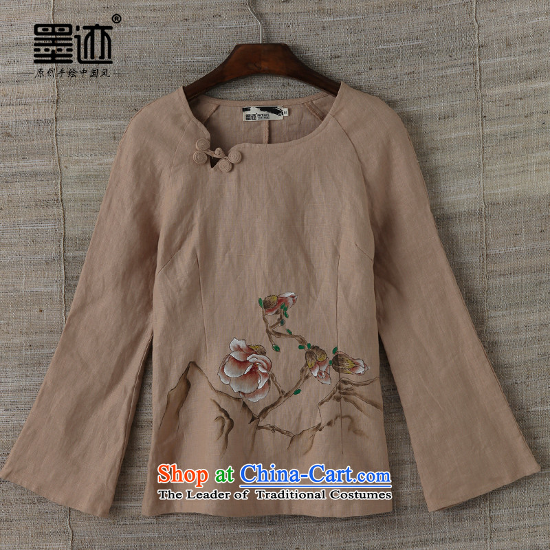 Replace Han-ink autumn of the full Chamber Fong Magnolia linen female Tang dynasty literary and art nouveau cotton linen Espresso Brown燤