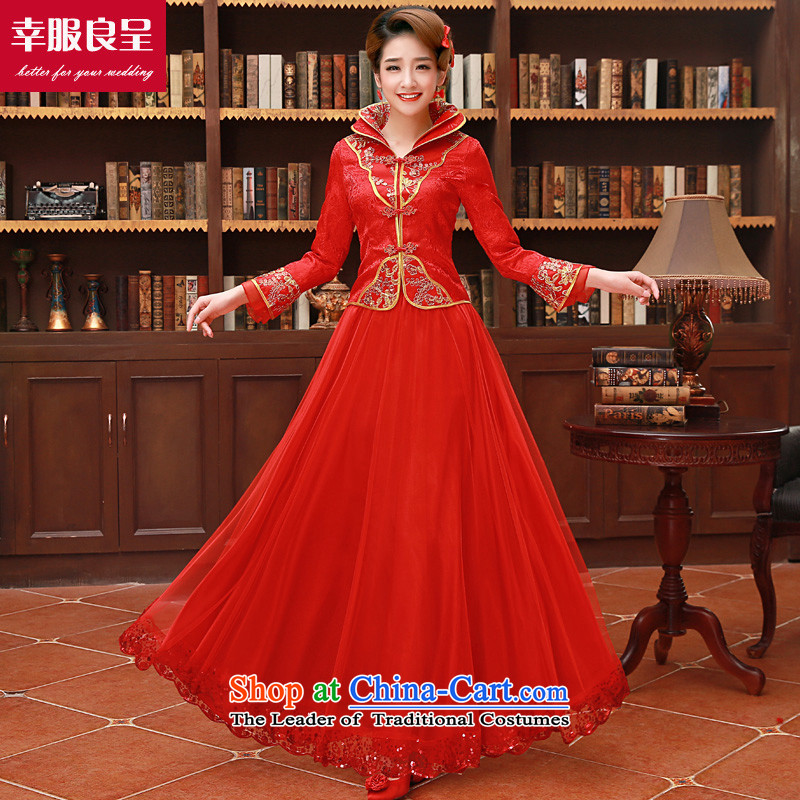 The privilege of serving-leung of autumn and winter 2015 new bride red Chinese wedding dress bows services wedding dress long-sleeved light slice of Qipao winter long dress?L