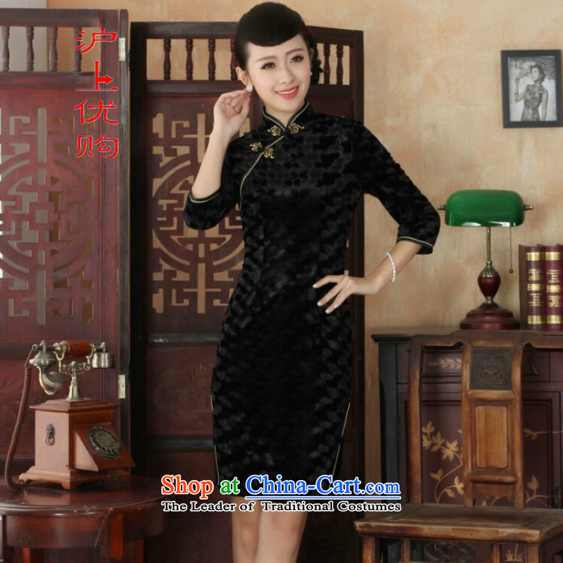 Shanghai, optimize IPO Chinese improved cheongsam dress long skirt superior Stretch Wool cheongsam dress Kim Sau San 7 Cuff�-A black燤