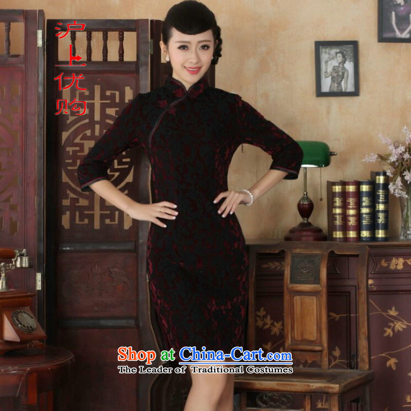 Shanghai, optimize IPO Chinese improved cheongsam dress long skirt Superior elasticity lace cheongsam dress Kim scouring pads Sau San 7 Cuff TD0022 map color L