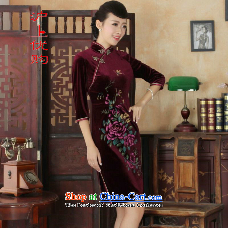 Shanghai, optimize IPO Chinese improved cheongsam dress long skirt superior Stretch Wool cheongsam dress Kim Sau San 7 Cuff wine red燬