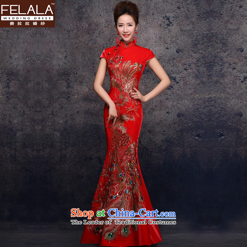 Ferrara聽2015 new bride replacing marriage qipao Phoenix embroidery bows services improved crowsfoot long gown聽XL聽Suzhou Shipment