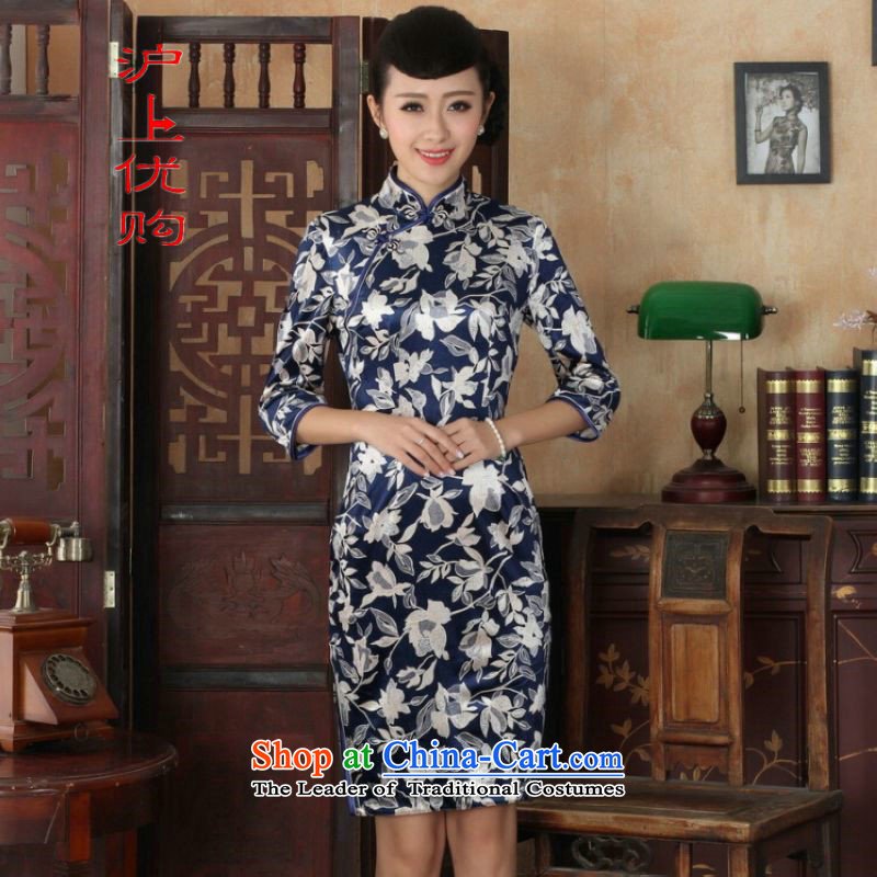 Shanghai, optimize IPO Chinese improved cheongsam dress long skirt superior Stretch Wool cheongsam dress Kim Sau San 7 Cuff燙olor pictures -A燲L