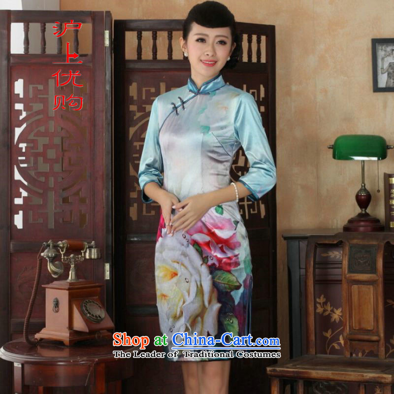 Shanghai, optimize IPO Chinese improved cheongsam dress long skirt superior Stretch Wool cheongsam dress Kim Sau San 7 Cuff Color Picture燬