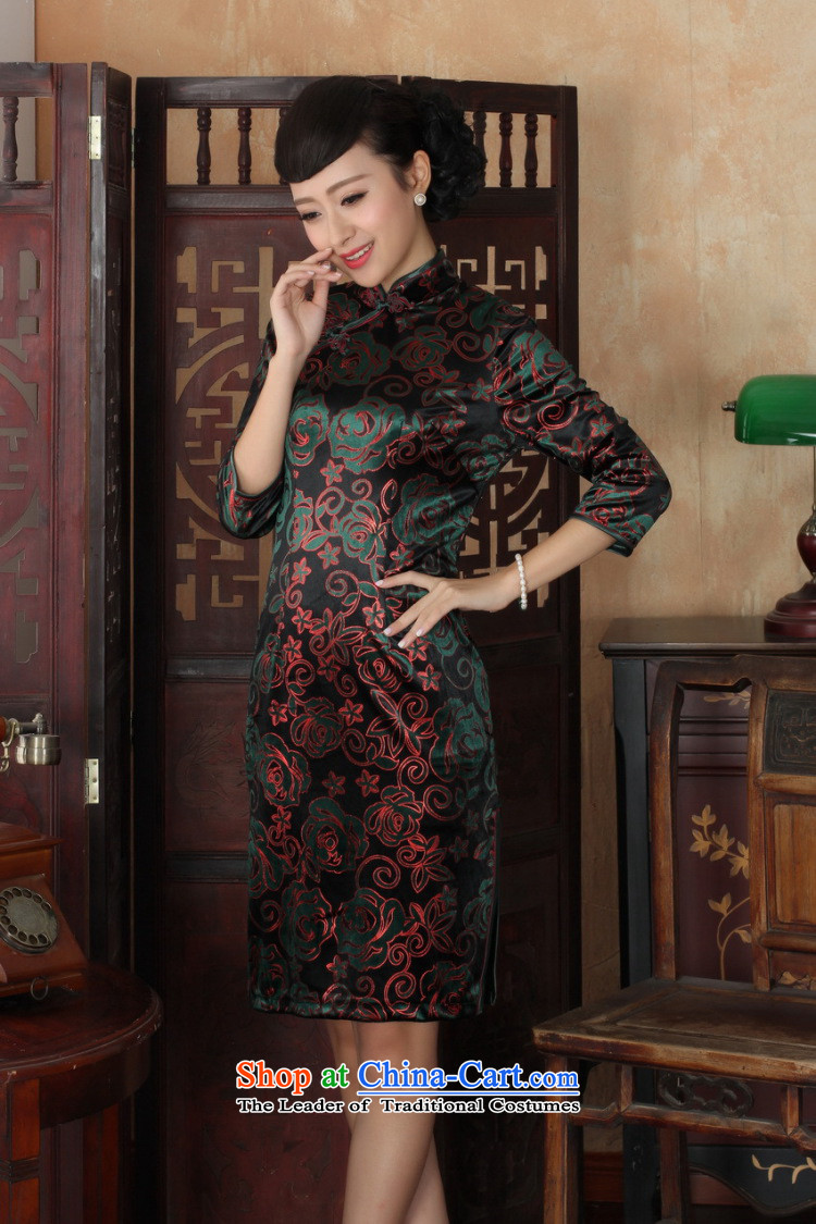 Shanghai, optimize IPO Chinese improved cheongsam dress long skirt superior Stretch Wool cheongsam dress Kim
