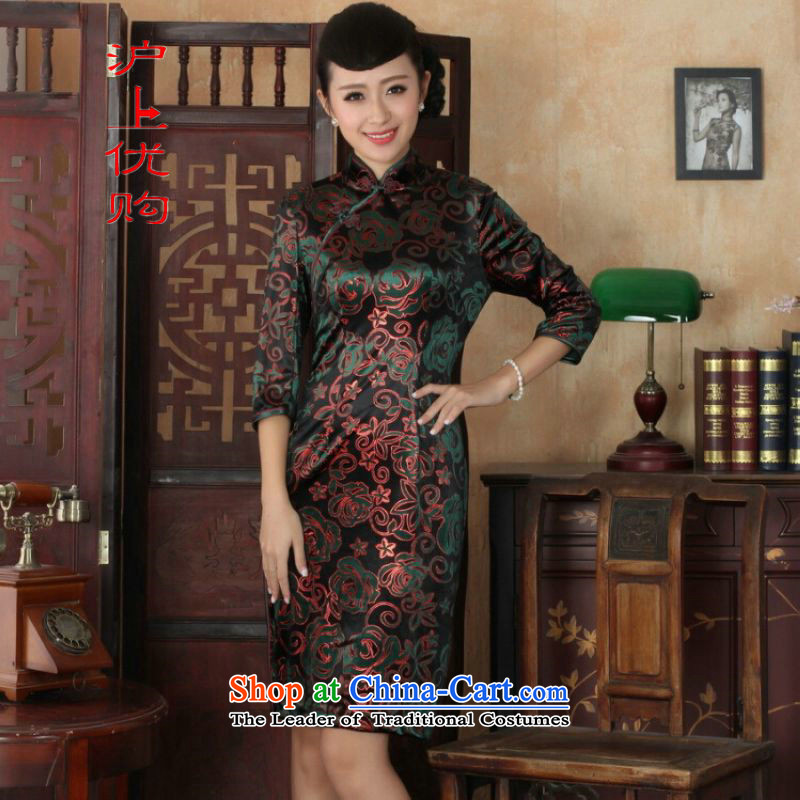 Shanghai, optimize IPO Chinese improved cheongsam dress long skirt superior Stretch Wool cheongsam dress Kim Sau San 7 Cuff Color Picture燤