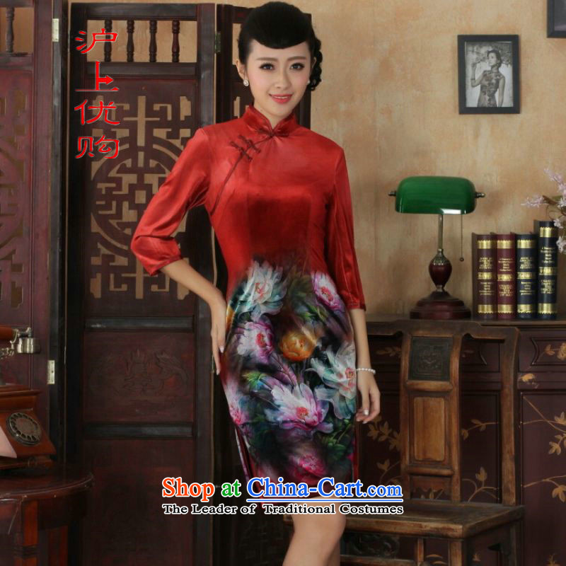 Shanghai, optimize IPO Chinese improved cheongsam dress long skirt superior Stretch Wool cheongsam dress Kim Sau San 7 Cuff Color Picture聽M