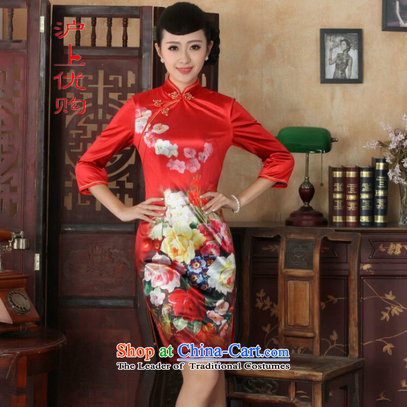 Shanghai, optimize IPO Chinese improved cheongsam dress long skirt superior Stretch Wool cheongsam dress Kim Sau San 7 Cuff Color Picture�M