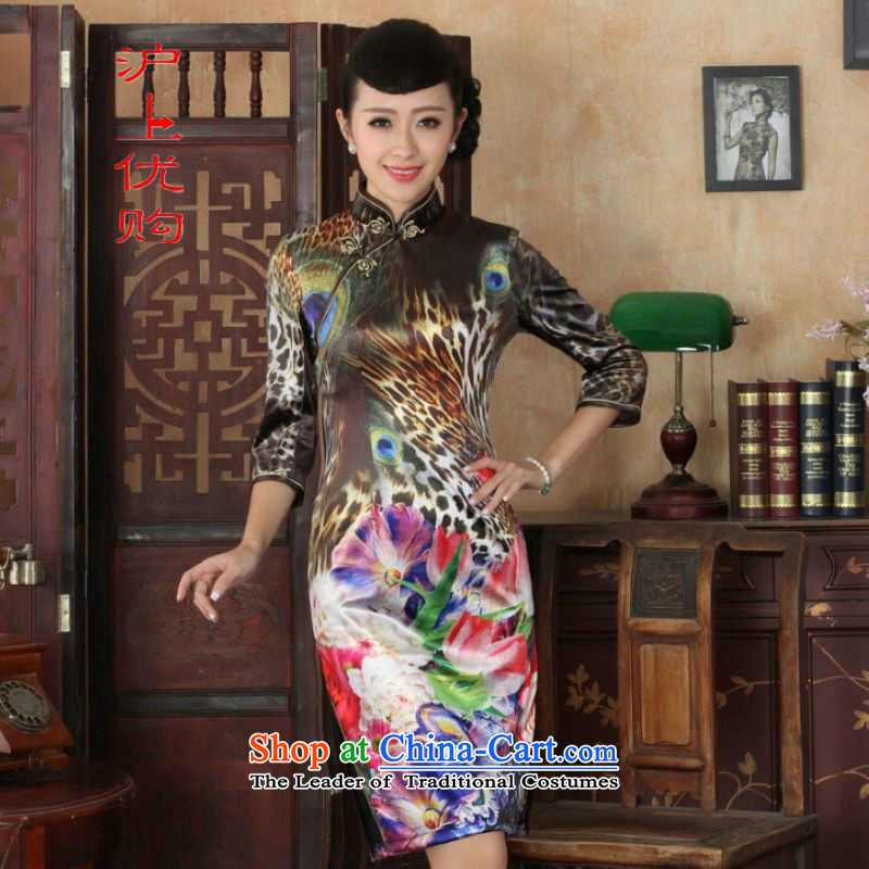 Shanghai, optimize IPO Chinese improved cheongsam dress long skirt Superior elasticity Kim scouring pads peacock qipao 7 Cuff Color Picture?XL