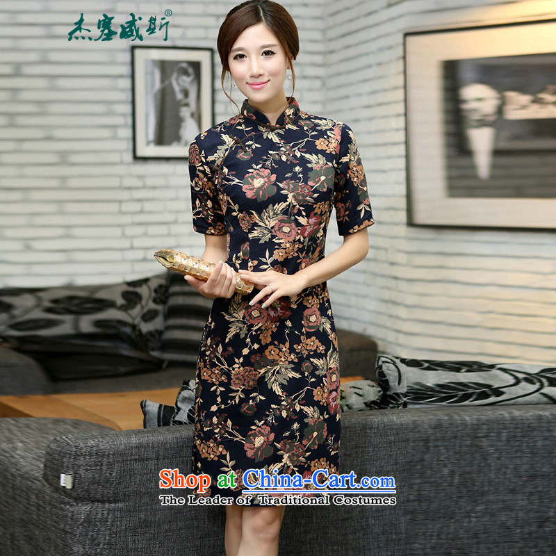 Jie in Wisconsin, China wind spring and autumn female linen collar and knee in manual long qipao dodu autumn Mock-neck�M