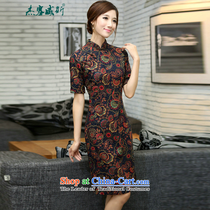 Jie in Wisconsin, China wind retro elegant ladies linen Spring Collar and knee in manual long qipao small vine, Athena Mock-neck qipao聽M