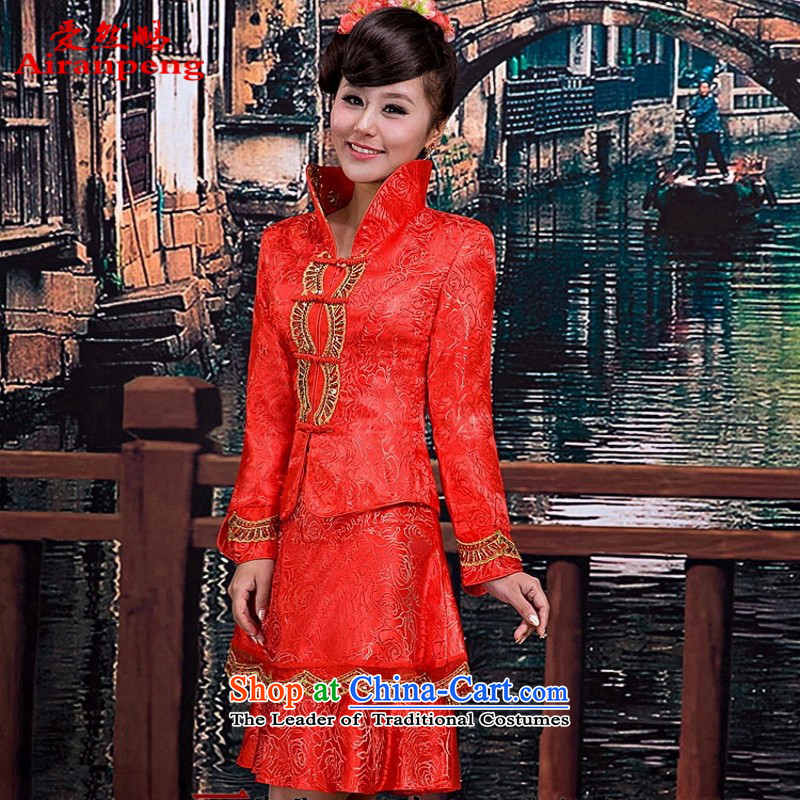 Love So peng lai Sa Fei-new stylish cheongsam wedding photography qipao gown qipao bride bows serving Hot Sales for autumn and winter_, Red燬 can TU9 returning