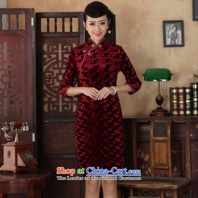 Ms Au King Mansion to Chinese improved cheongsam dress long skirt superior Stretch Wool cheongsam dress Kim Sau San 7 Cuff wine red燤