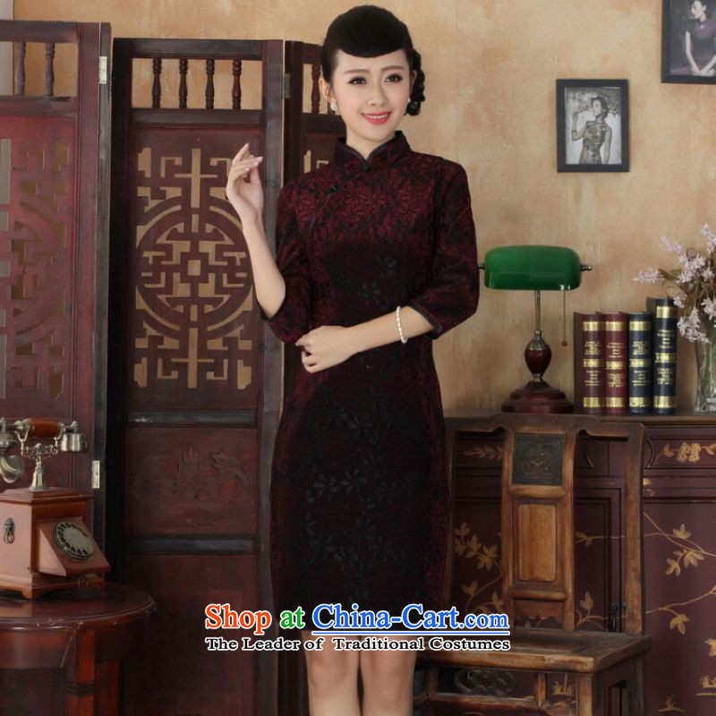 Ms Au King Mansion to Chinese improved cheongsam dress long skirt Superior elasticity lace cheongsam dress Kim scouring pads Sau San 7 Cuff聽TD0021 map color聽M