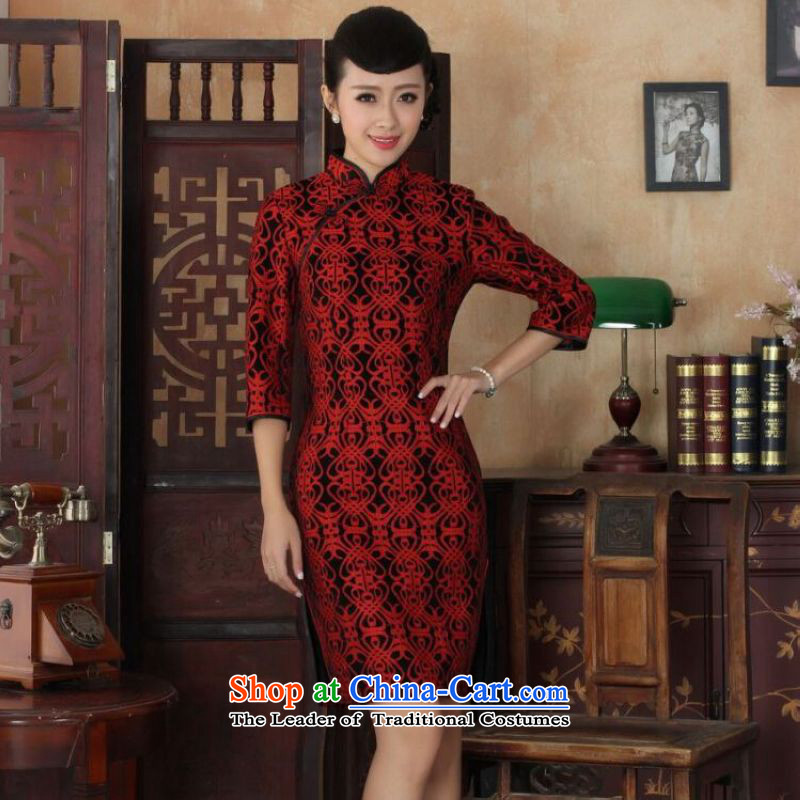 Ms Au King Mansion to Chinese improved cheongsam dress long skirt Superior elasticity lace cheongsam dress Kim scouring pads Sau San 7 Cuff聽TD0025 map color聽L