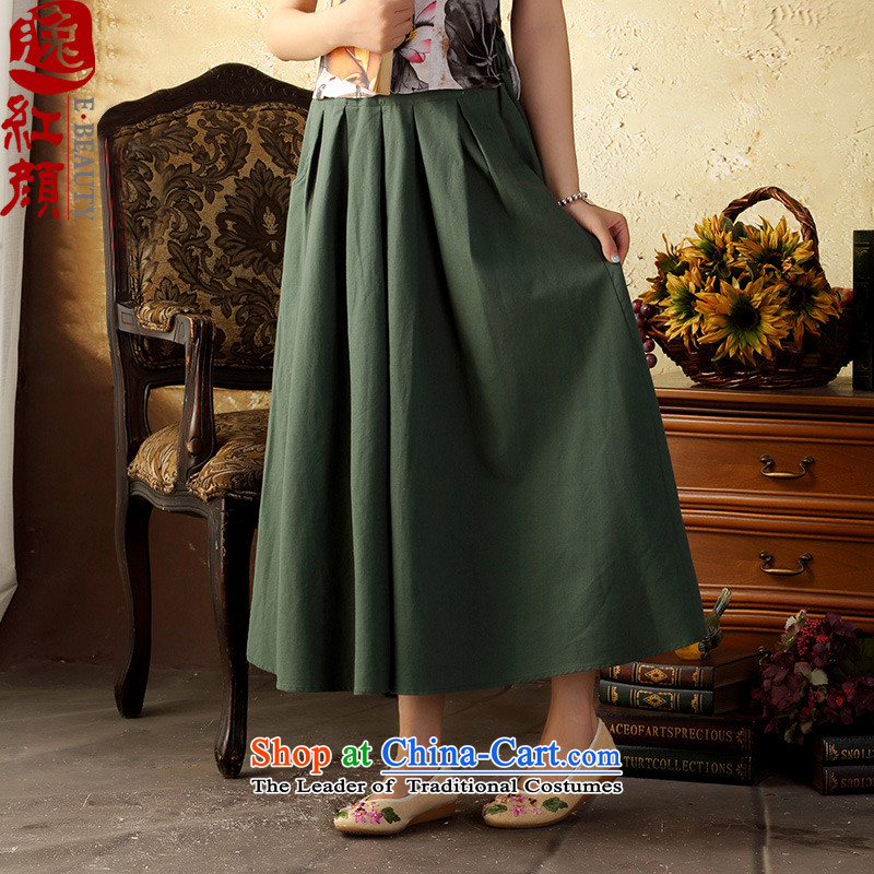 A Pinwheel Without Wind Tsing Yi New ink pack literature small fresh autumn rayon body long skirt ethnic elegant long skirt green are code