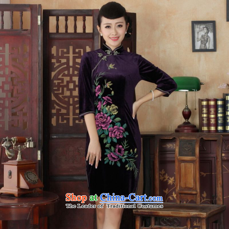 Ms Au King Mansion to Chinese improved cheongsam dress long skirt superior Stretch Wool cheongsam dress Kim Sau San 7 Cuff聽-B purple聽XL