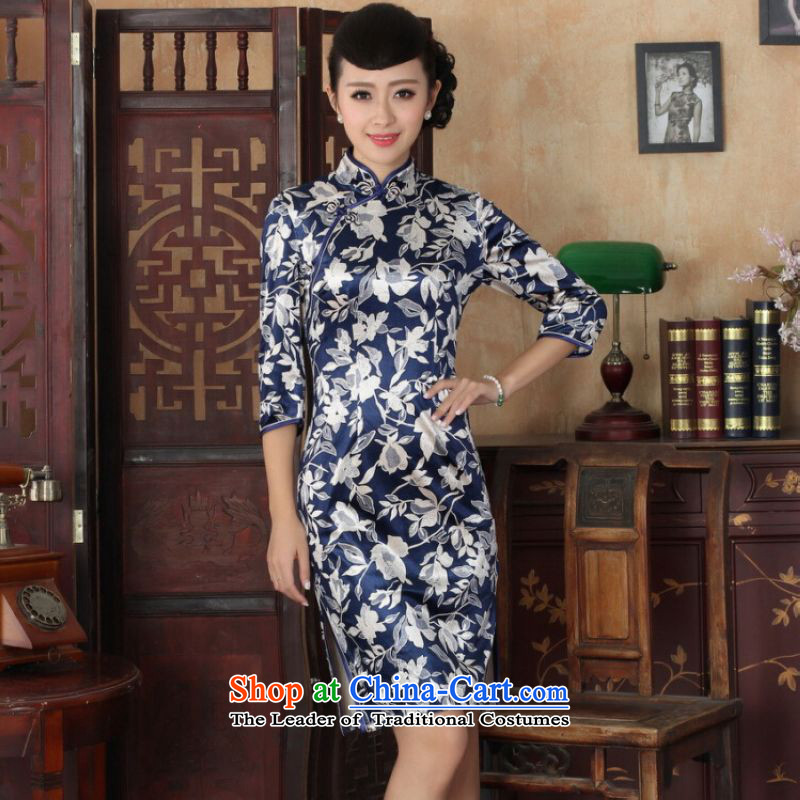 Ms Au King Mansion to Chinese improved cheongsam dress long skirt superior Stretch Wool cheongsam dress Kim Sau San 7 Cuff聽Color pictures -A聽XL