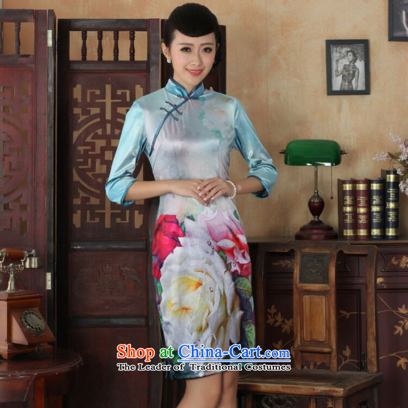 Ms Au King Mansion to Chinese improved cheongsam dress long skirt superior Stretch Wool cheongsam dress Kim Sau San 7 Cuff Color Picture聽M