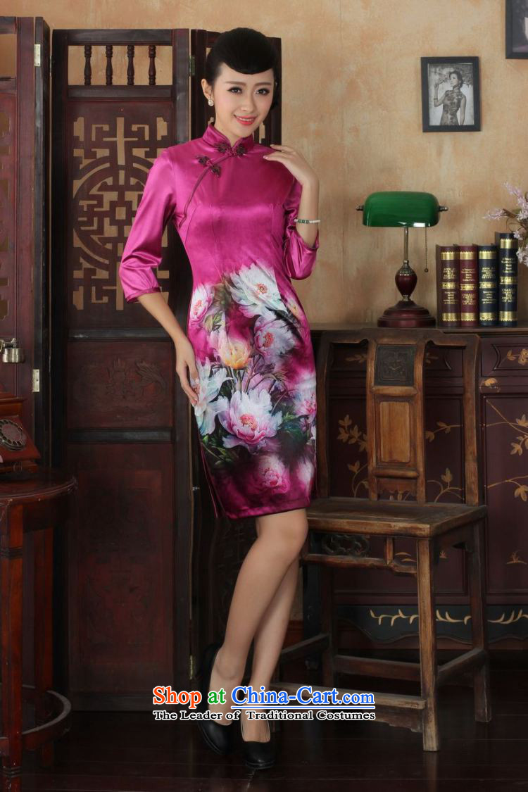 Ms Au King Mansion to Chinese improved cheongsam dress long skirt superior Stretch Wool cheongsam dress Kim