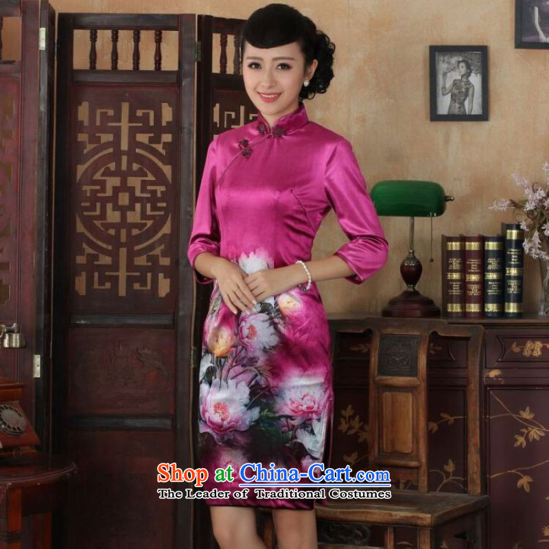 Ms Au King Mansion to Chinese improved cheongsam dress long skirt superior Stretch Wool cheongsam dress Kim Sau San 7 Cuff Color Picture聽XL