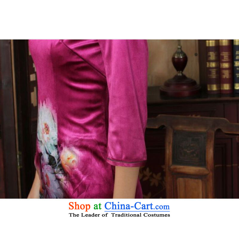 Ms Au King Mansion to Chinese improved cheongsam dress long skirt superior Stretch Wool cheongsam dress Kim Sau San 7 Cuff Color pictures聽to Jing Ge.... XL, online shopping