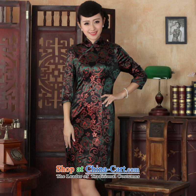 Ms Au King Mansion to Chinese improved cheongsam dress long skirt superior Stretch Wool cheongsam dress Kim Sau San 7 Cuff Color Picture聽L
