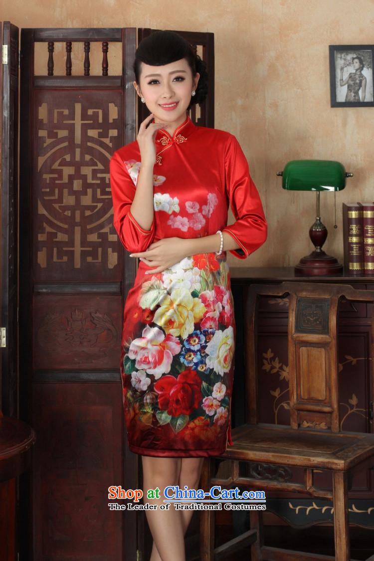 Ms Au King Mansion to Chinese improved cheongsam dress long skirt superior Stretch Wool cheongsam dress Kim