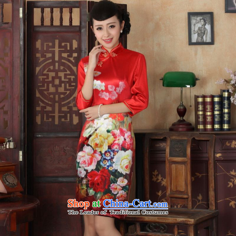 Ms Au King Mansion to Chinese improved cheongsam dress long skirt superior Stretch Wool cheongsam dress Kim Sau San 7 Cuff Color Picture聽S