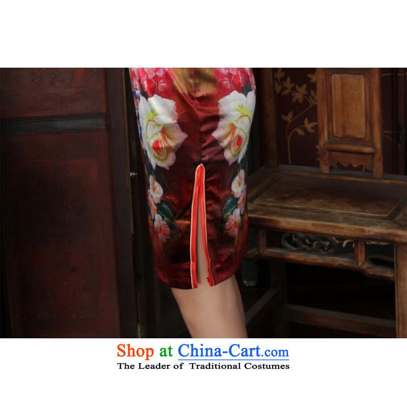 Ms Au King Mansion to Chinese improved cheongsam dress long skirt superior Stretch Wool cheongsam dress Kim Sau San 7 Cuff Color pictures聽to Jing Ge , , , S, shopping on the Internet