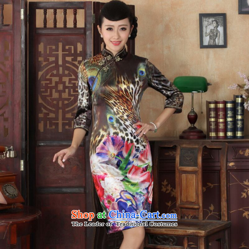 Ms Au King Mansion to Chinese improved cheongsam dress long skirt Superior elasticity Kim scouring pads peacock qipao 7 Cuff Color Picture聽XL