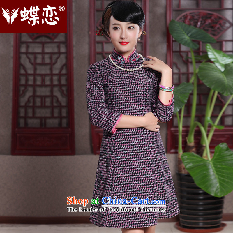 Butterfly Lovers 2015 Autumn New) chidori grid style qipao improved dresses retro temperament Tang dynasty qipao 49108 Red chidori grid? XL