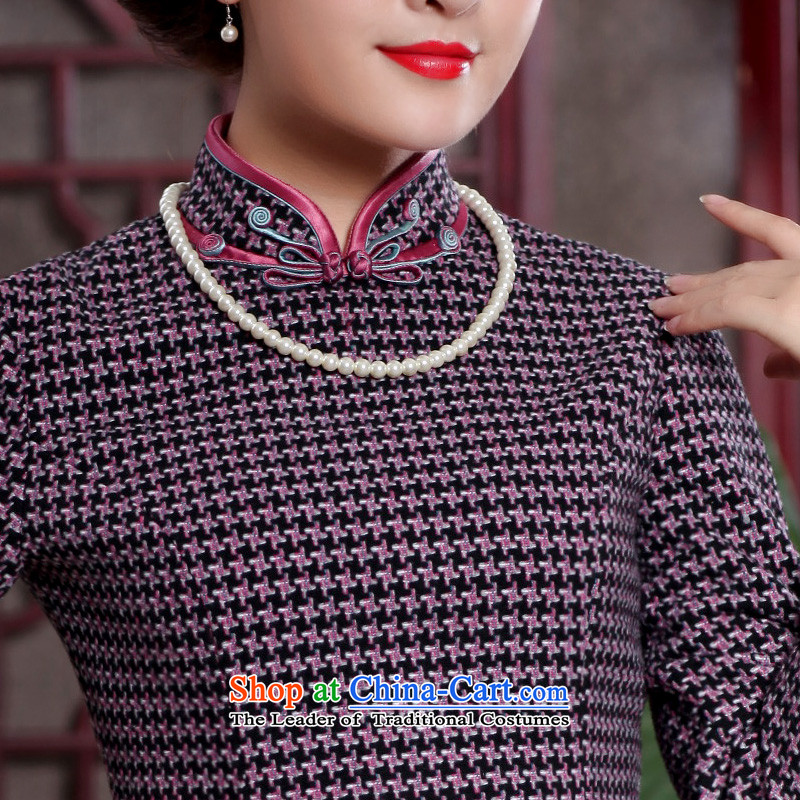 Butterfly Lovers 2015 Autumn New) chidori grid style qipao improved dresses retro temperament Tang dynasty qipao 49108 Red chidori grid聽 XL, Butterfly Lovers , , , shopping on the Internet