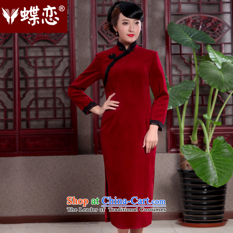 Butterfly Lovers 2015 Autumn new retro look like replacing cheongsam dress improved long wool is a stylish 49110 qipao wine red�XXL