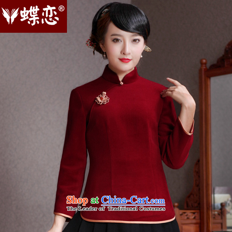 Butterfly Lovers 2015 Autumn New) China wind-to-day of qipao shirt improved wool? Tang blouses 49111 wine red?  XL