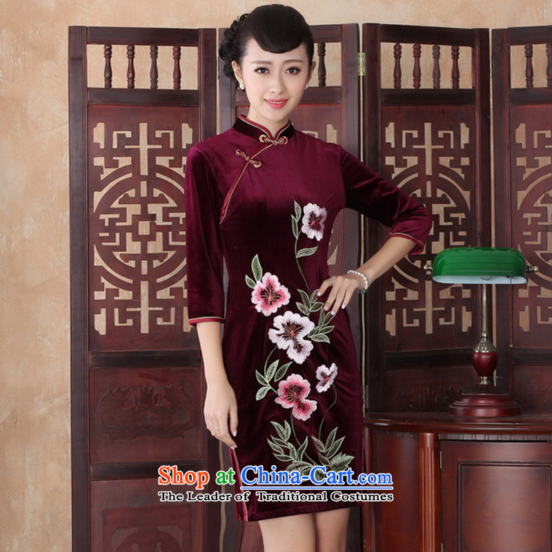 Floral qipao autumn Women's clothes improved stylish Kim scouring pads daily collar short retro Sau San, temperament embroidery cheongsam dress RED�M