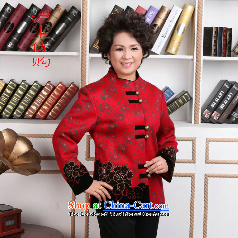 Shanghai, optimization options for older women Tang dynasty winter coats blouses Mock-neck Tang dynasty women wool??- 2 red jacket Tang?XL