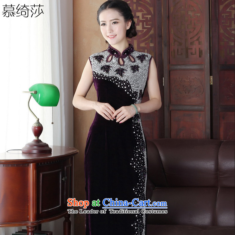 The cross-Sha Chau replace Ms. qipao improvement long long cheongsam dress retro new staple manually dress sense of elegance pearl燳3089 L