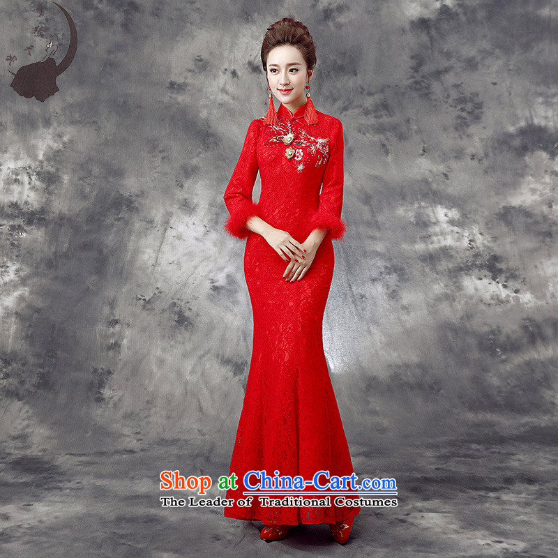 The leading edge of the new 2015 days bride wedding dresses improved Sau San crowsfoot bows qipao winter clothing 863燤 2.0 ft waistline red