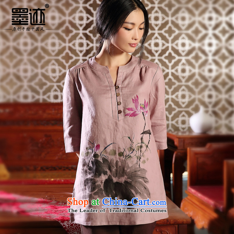 Load new ink autumn hand-painted original cotton linen Tang dynasty female Han-T-shirt national wind in Sau San sleeveless shirt purple燤