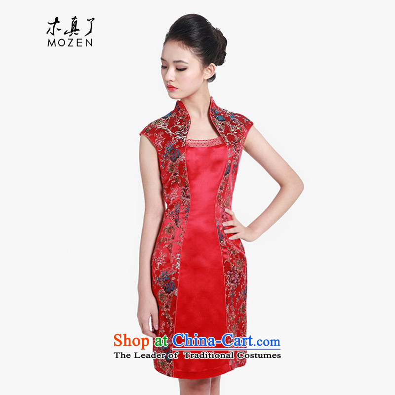 Wooden spring and summer of 2015 really new Chinese saika elegant qipao gown 80608 short-sleeved 04 deep red燲XL