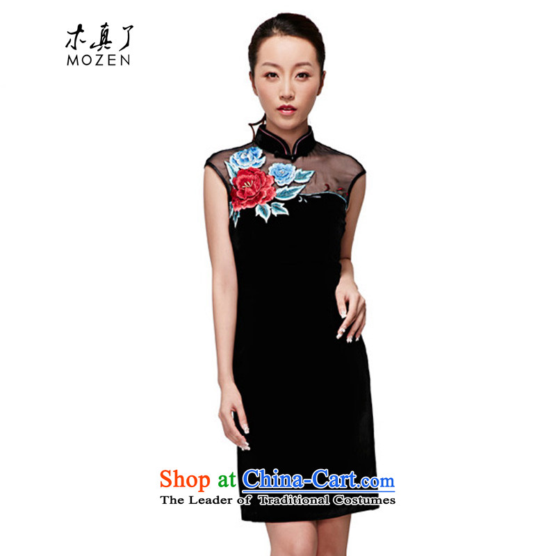 A qipao wood really spring and summer 2015 new embroidered dress qipao high end of the stylish and elegant dress female winter dresses聽NO.22245 visitor 01 Black聽XL