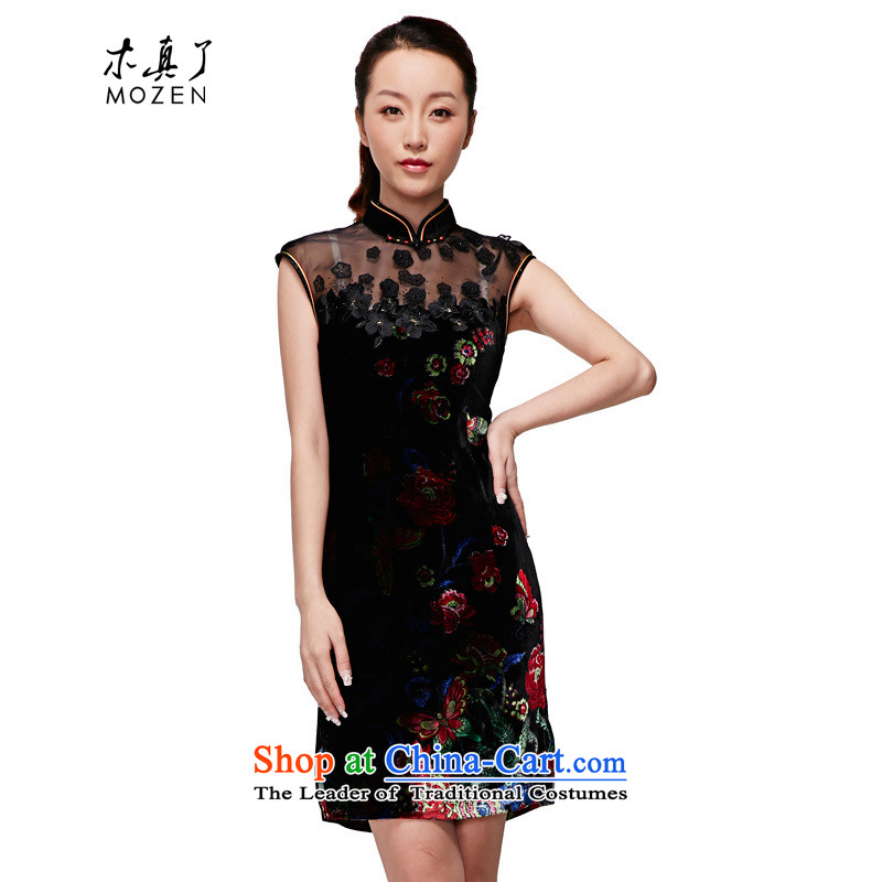 Wooden spring and summer of 2015 really new women's Silk Cheongsam silk velvet gown elegant Chinese Winter dresses�11719 01 Black�M