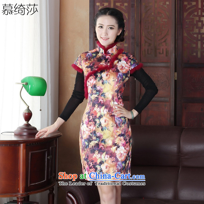 The cross-sa Zhengyan,autumn and winter gross stamp for thick_ qipao cheongsam dress retro improvement of daily short skirt燳3127D collar qipao爏uit燲L