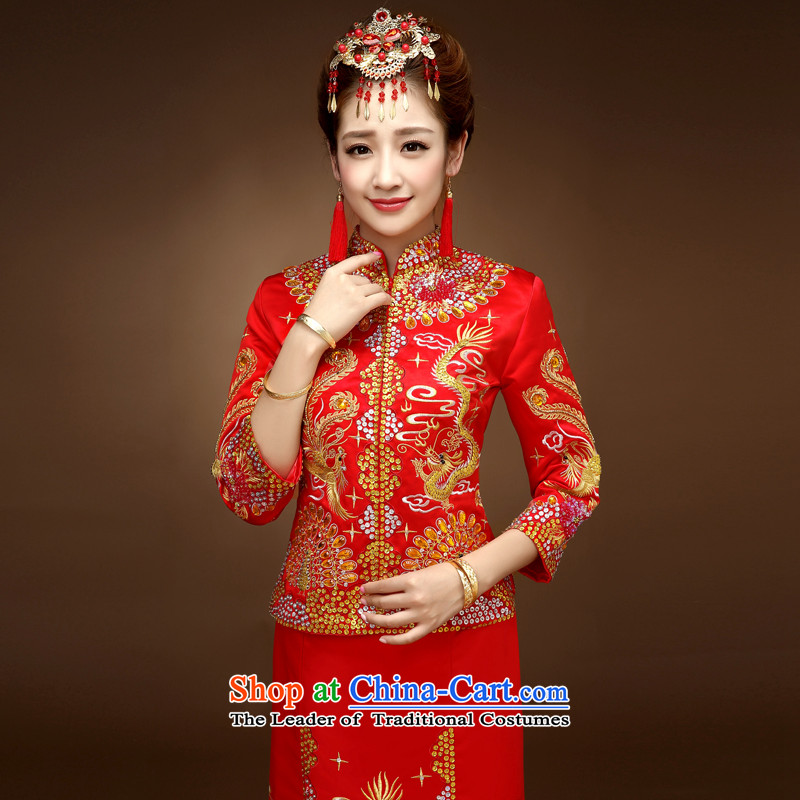 The privilege of serving-leung of autumn and winter bride with Su-wo service bows service wedding dress cheongsam dress use Chinese dragon and use the wedding dress red�S
