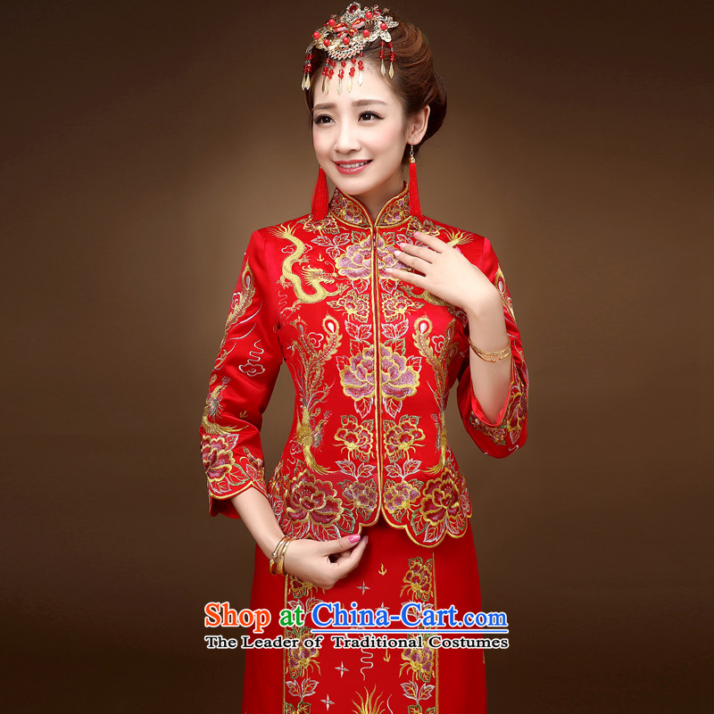 The privilege of serving-leung of autumn and winter red Chinese wedding dress bride wedding dresses Soo-reel serving drink service use skirt use red dragon燤
